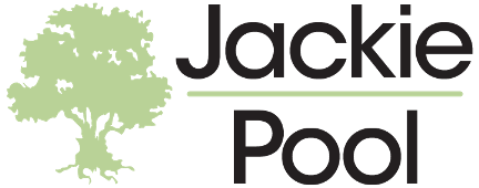 Jackie Pool logo transparent background screen black text