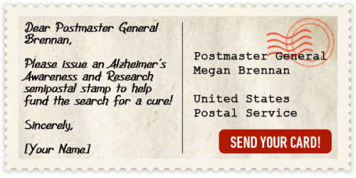 alz psotcard to support stamp